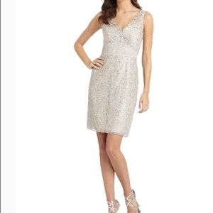 BCBG Silver and Nude Lace Dress